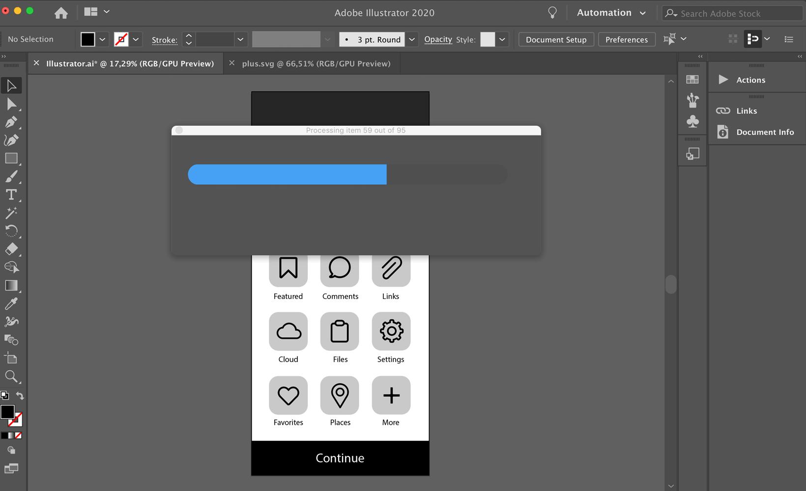 Illustrator script progress