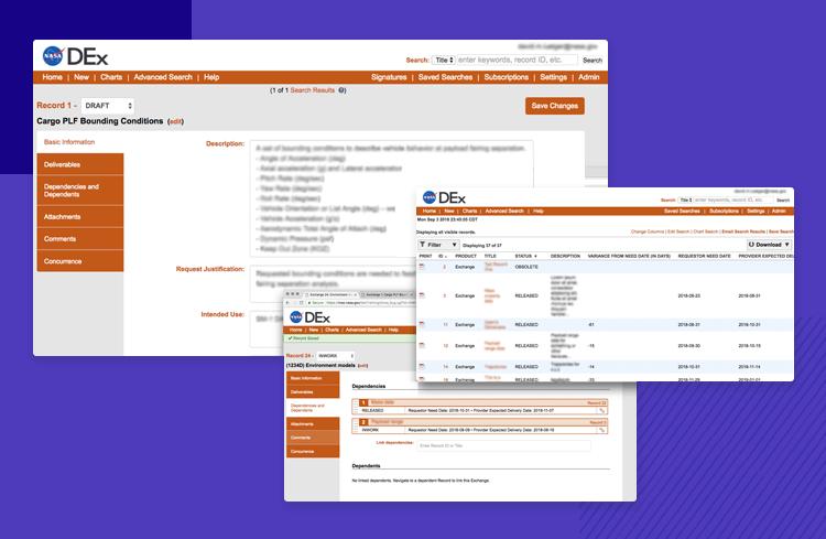 Data driven design at NASA - DEx software interface