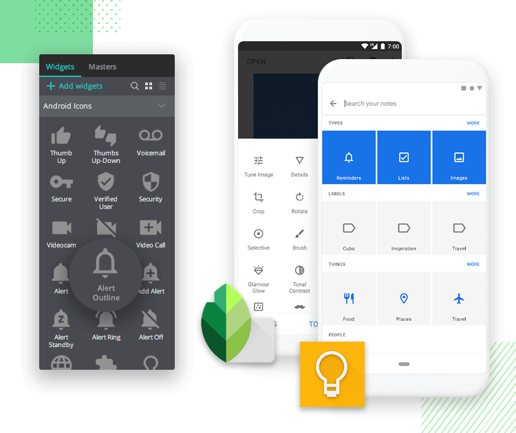 Justinmind Android Icons library - help connect with the user via universal android language