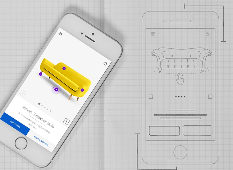 app wireframe template product page of furniture