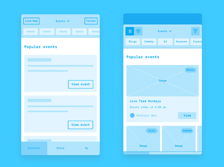 high and low fi app wireframe template