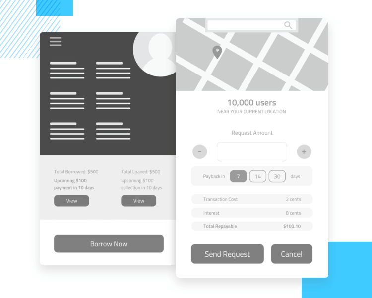 app wireframe template for loan concept