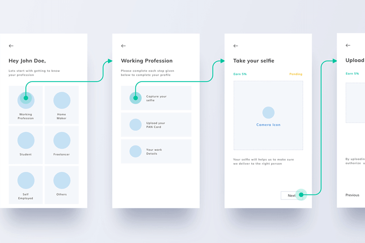 app wireframe with userflow