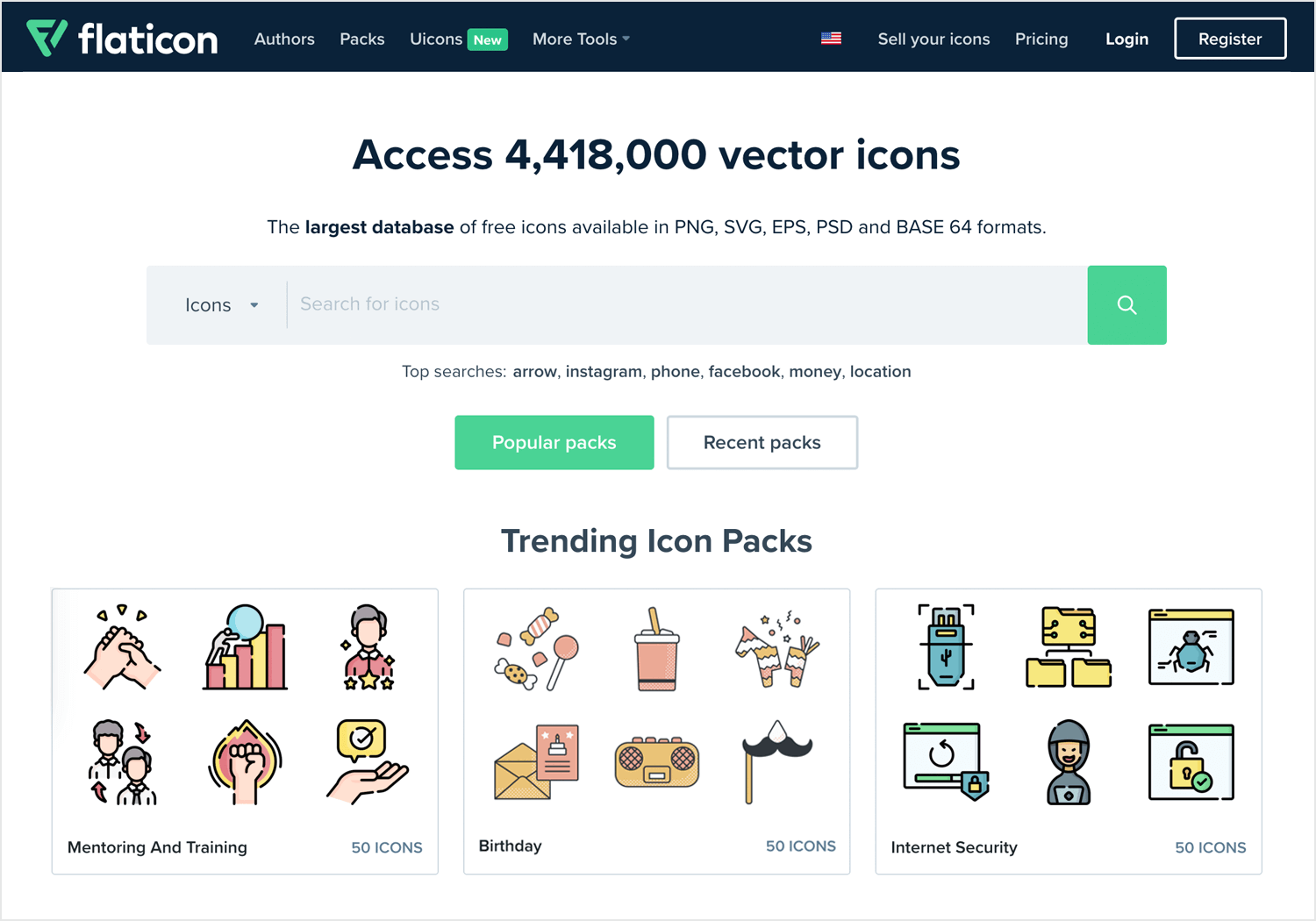flaticon as place for free app icons