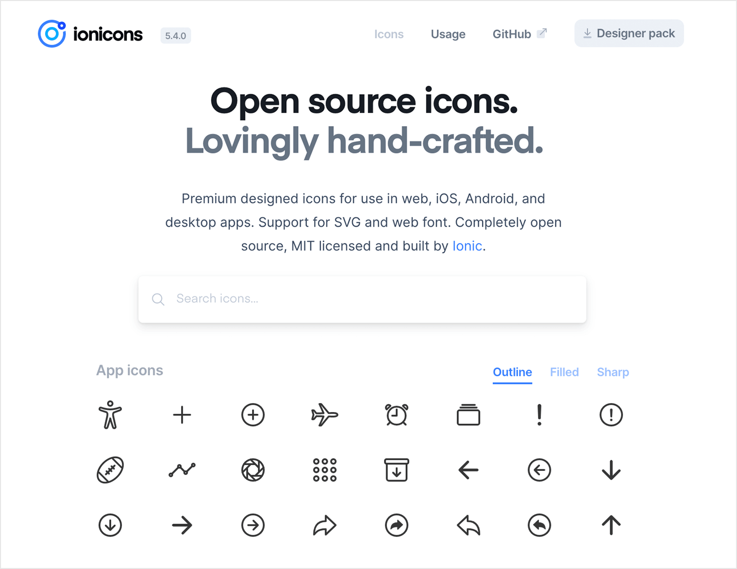 Free app icons to download - Ionicicons