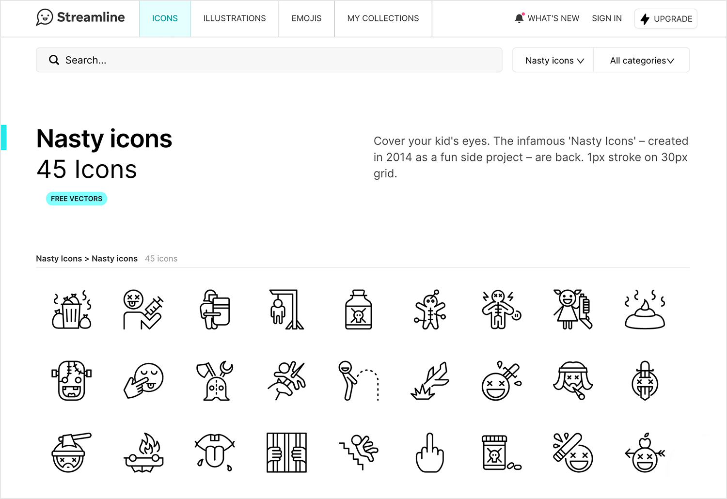 Free website icons to download - Nasty Icons