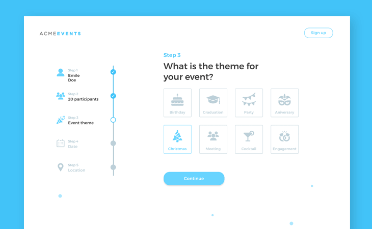 Web form event registration screen