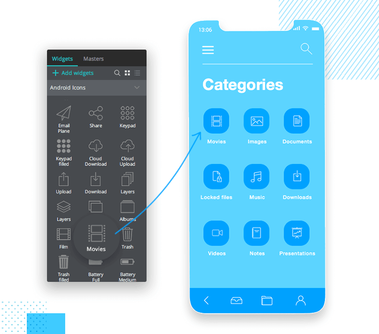 iOS Icons UI kit - creating the categories page