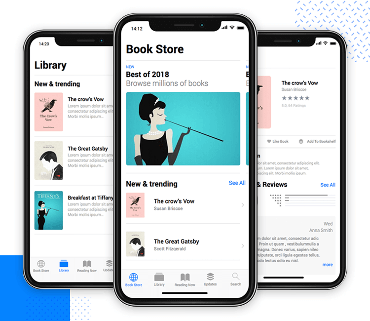 Justinmind's iOS UI kit - bookstore screen template