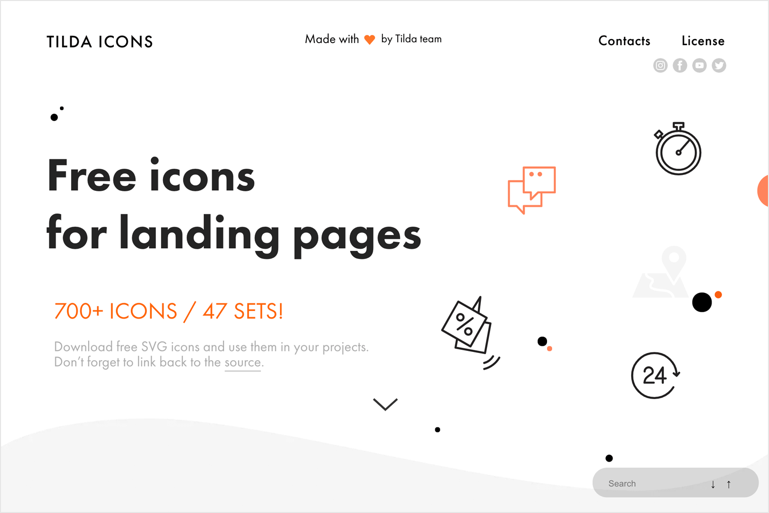 tilda publishing as a place for free icons