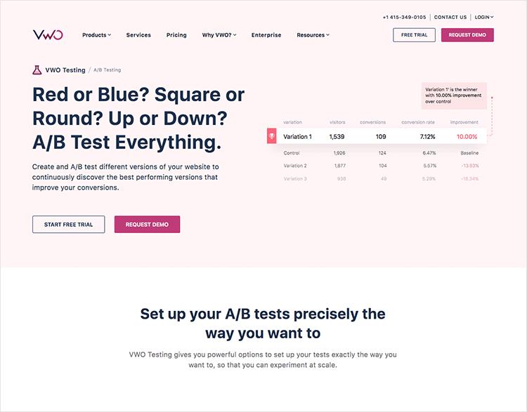 popular among a/b testing tools: VWO