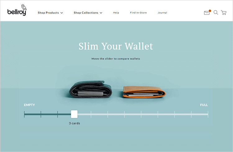 ecommerce website design at bellroy