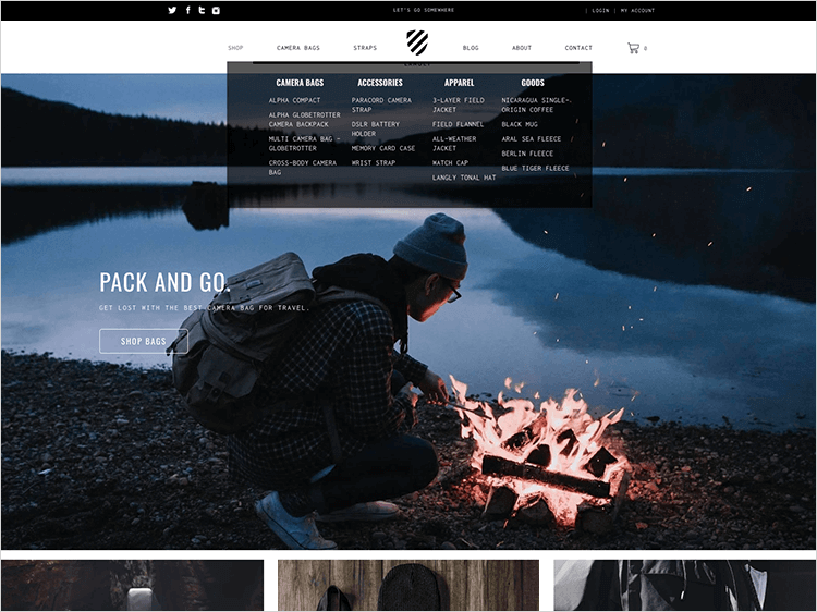 ecommerce website design for navigation bar