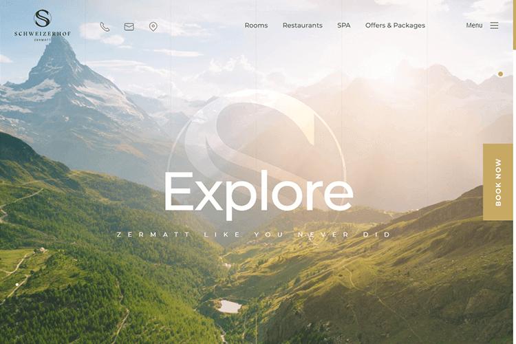 Hotel website design - Schweizerhof Zermatt