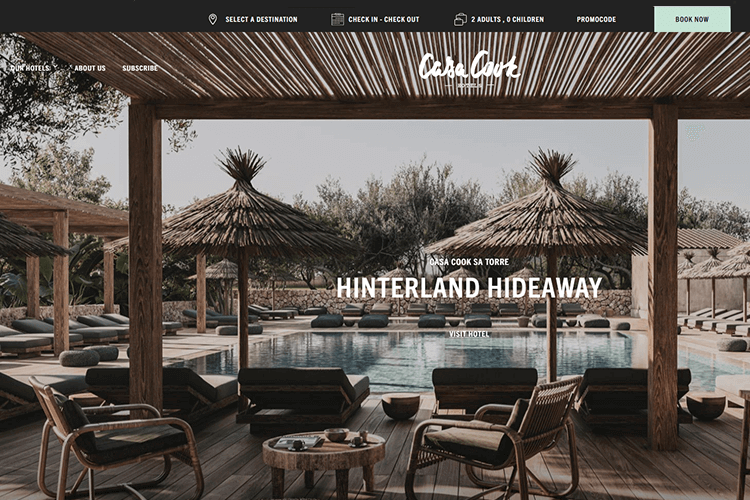 Hotel website design - Casa Cook