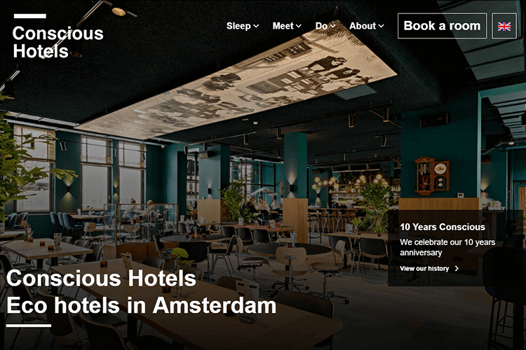 Hotel website design - Conscious Hotels