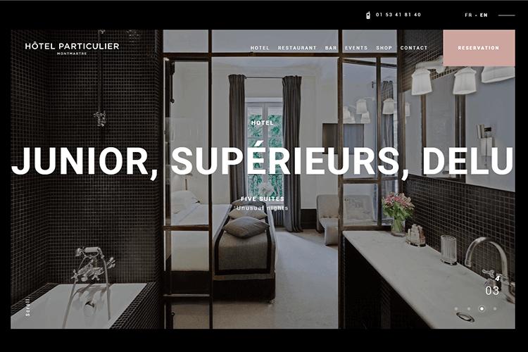 Hotel website design - Hôtel Particulier Montmartre