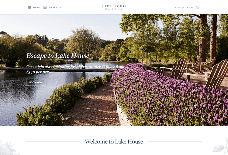 Hotel website design - Lake House
