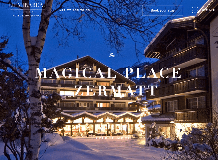 Hotel website design - Le Mirabeau