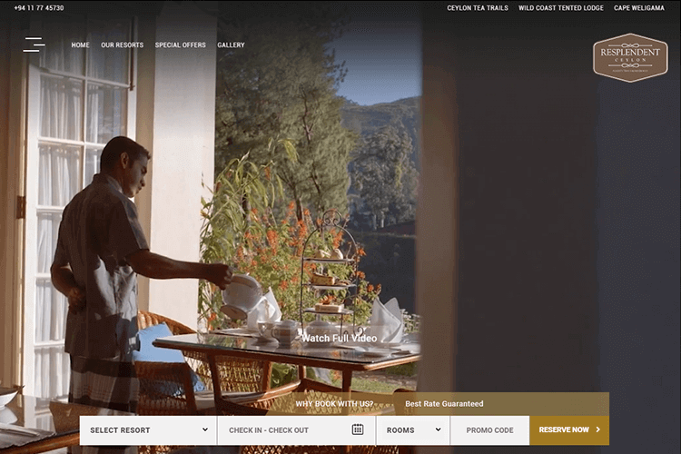 Hotel website design - Resplendent Ceylon