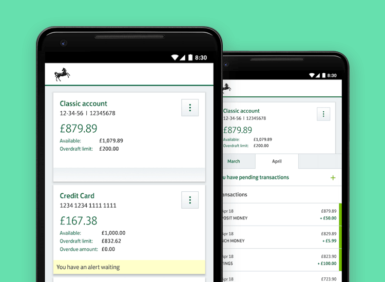 Banking app design patterns and examples - Lloyds makes all account balances visible on cards that the user can swipe
