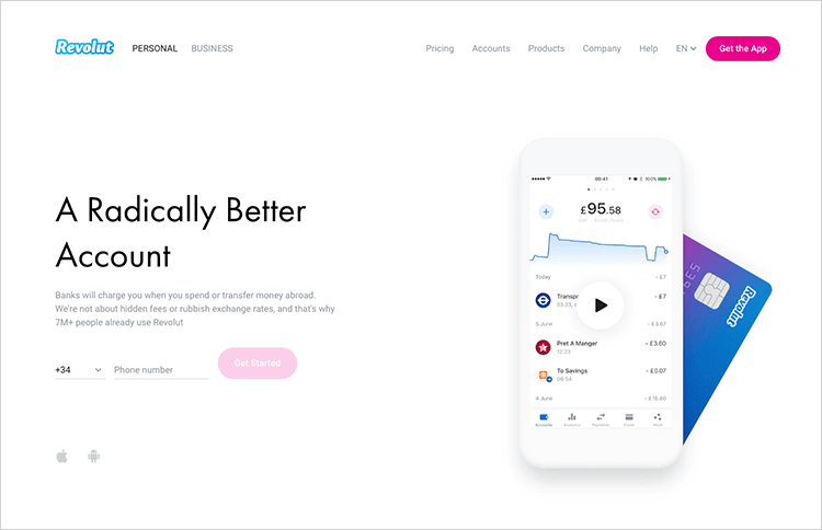 Banking app design patterns and examples - Revolut uses a contrasting color scheme