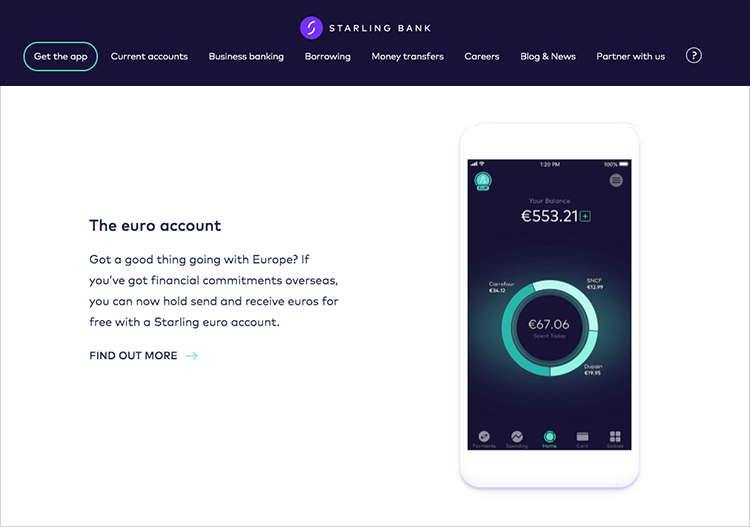 Banking app design patterns and examples - Starling Bank features spending insights on its app homepage