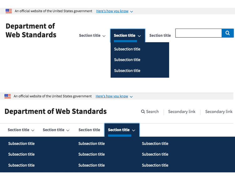 Justinmind US Web Design Standards UI kit - headers and footers