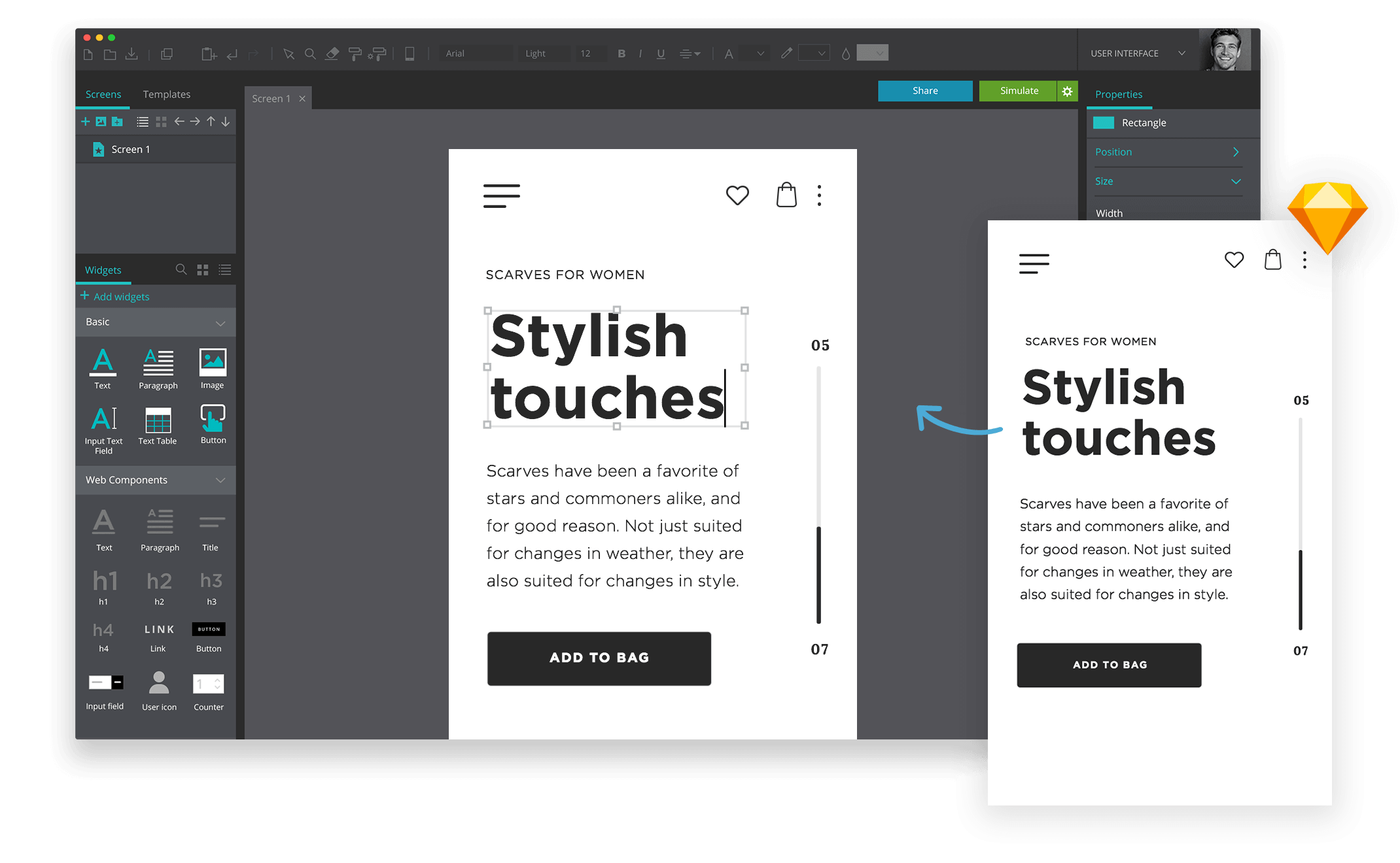 Edit texts design with Sketch in yout prototypes