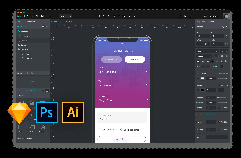 Justinmind integration with design tools Sketch, Photoshop, Illustrator