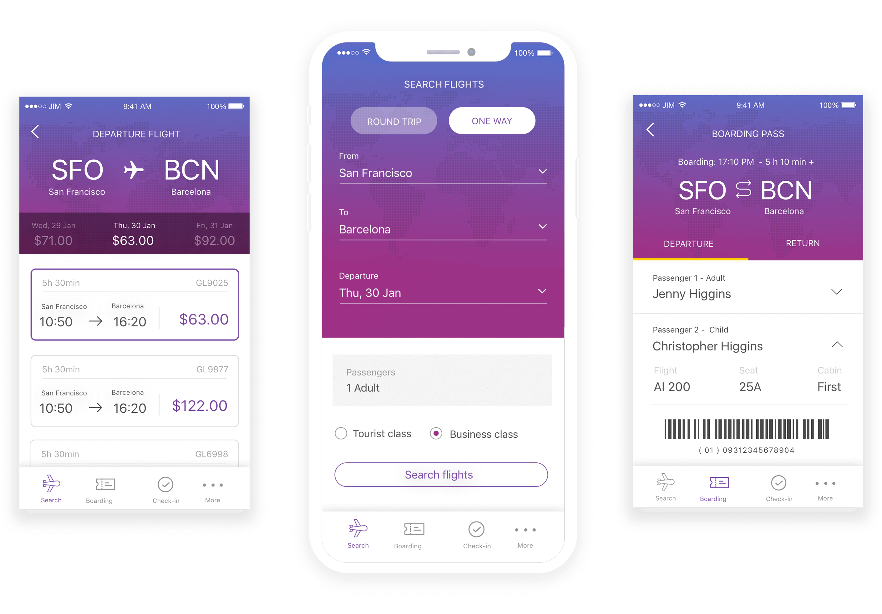 Mobile booking app prototype example