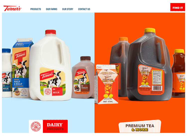 Flat website design - Turner's Dairy