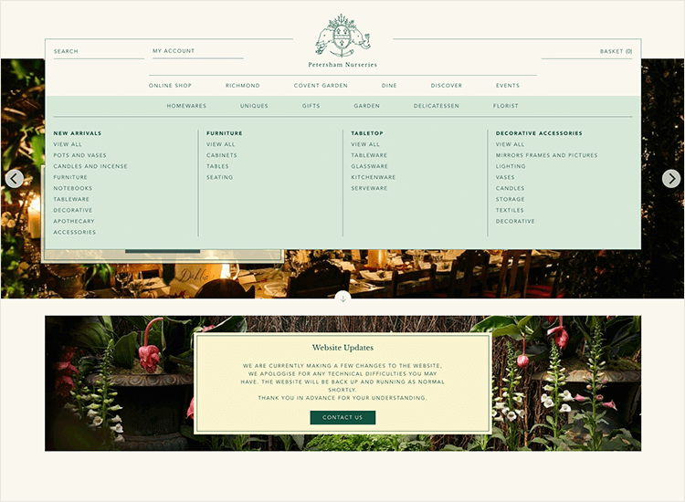 website navigation example - petersham nurseries menu