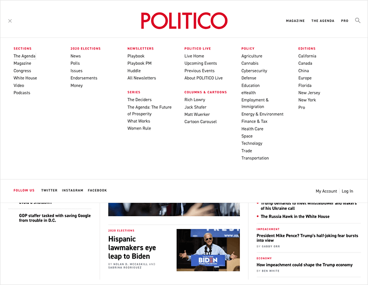 website navigation examples - large menu at POLITICO