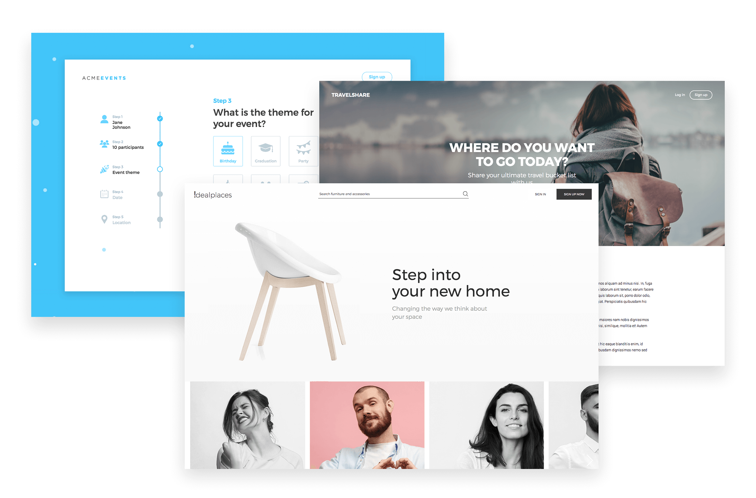 website prototype examples