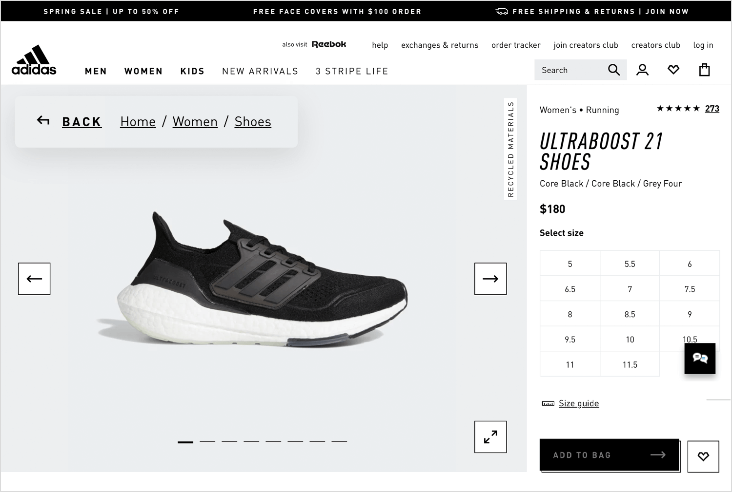 adidas website using breadcrumbs
