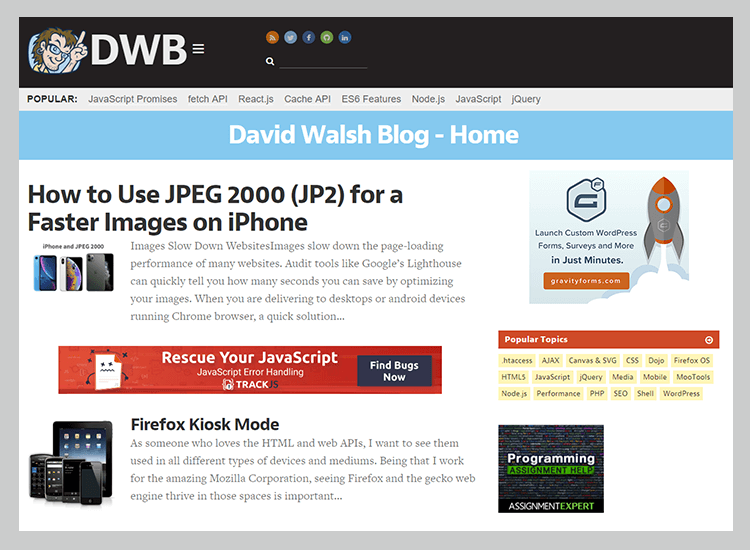 Best web development blogs - David Walsh