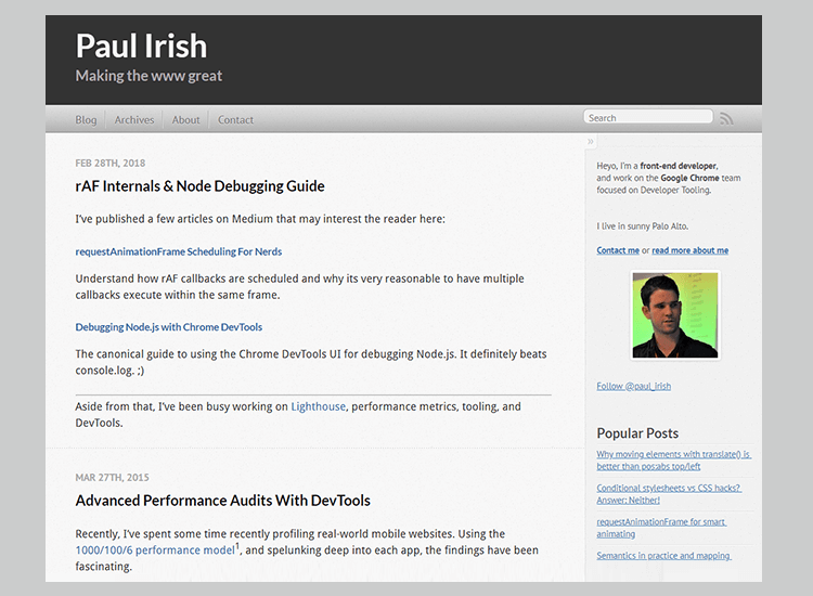 Best web development blogs - Paul Irish