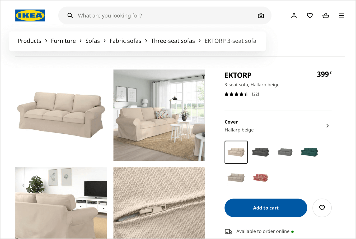 ikea website using breadcrumbs for navigation