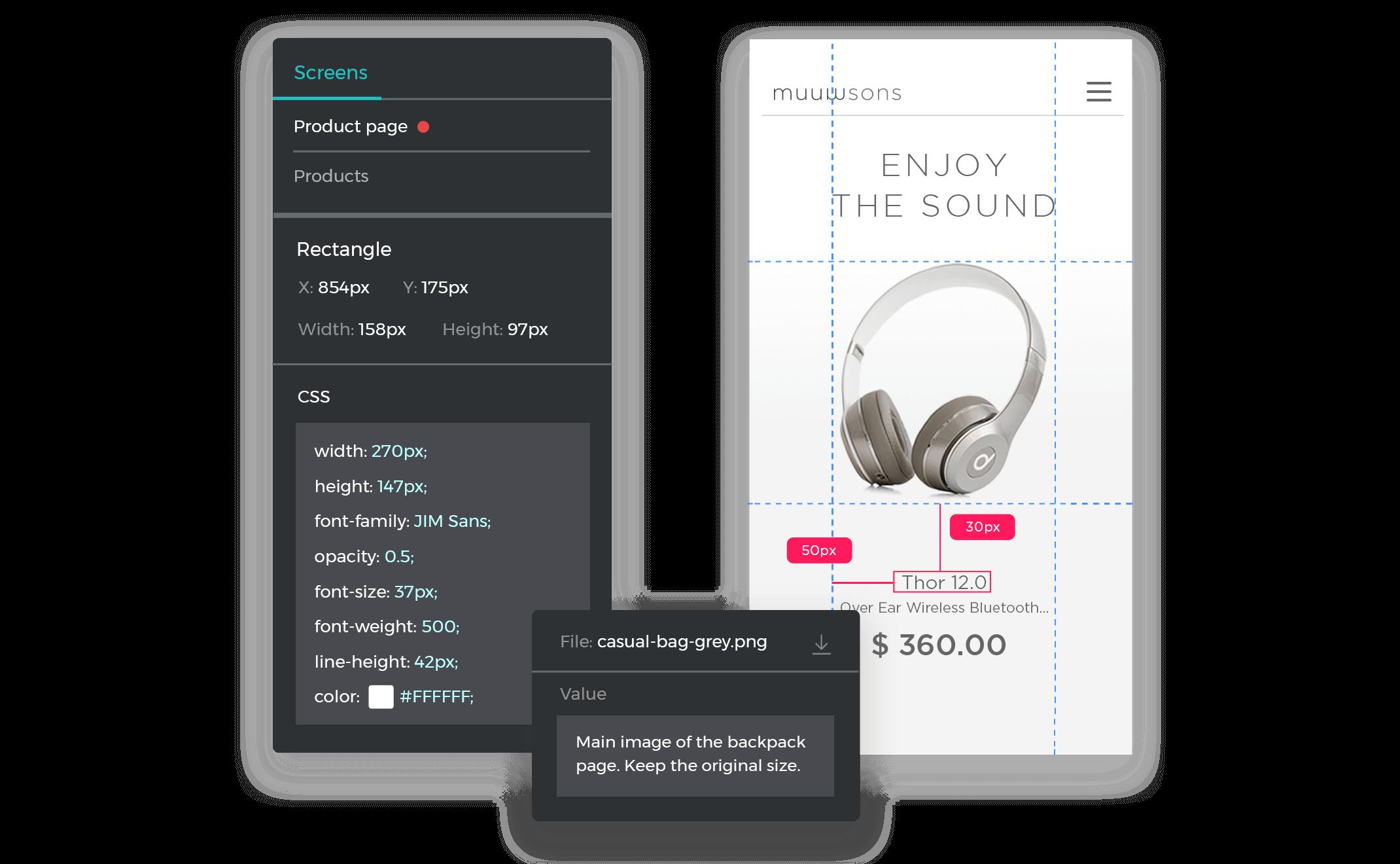 Justinmind's developer interface with redlines