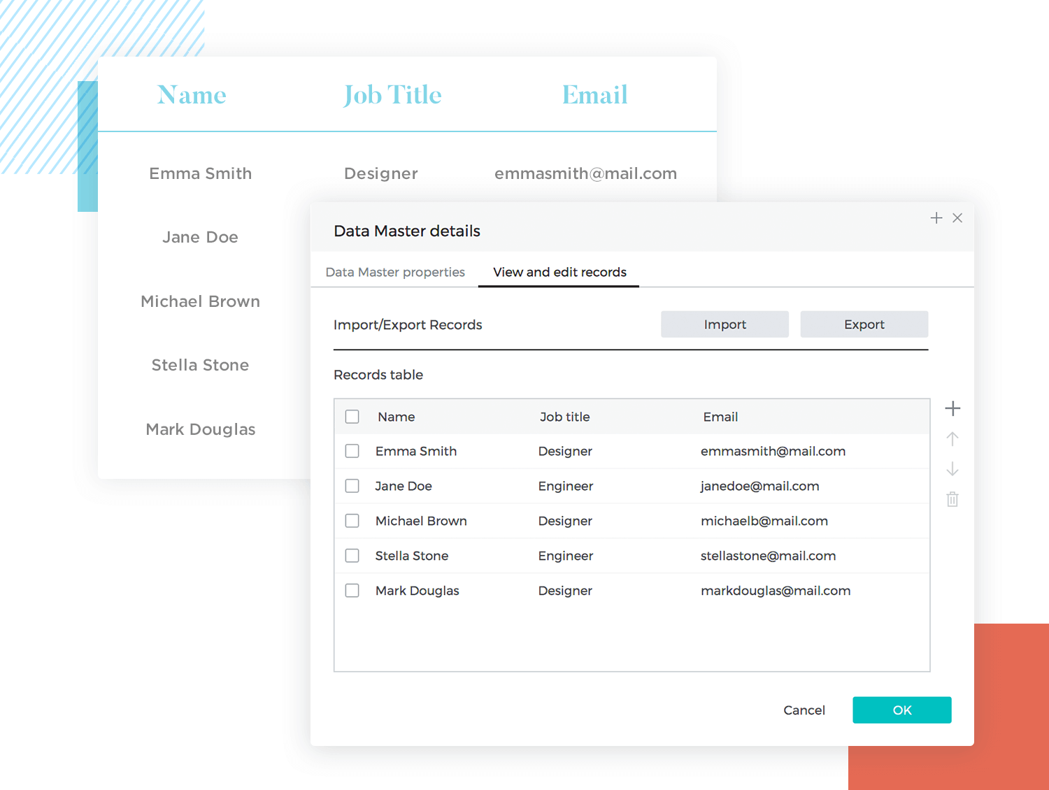 List UI design - create lists with data masters in Justinmind