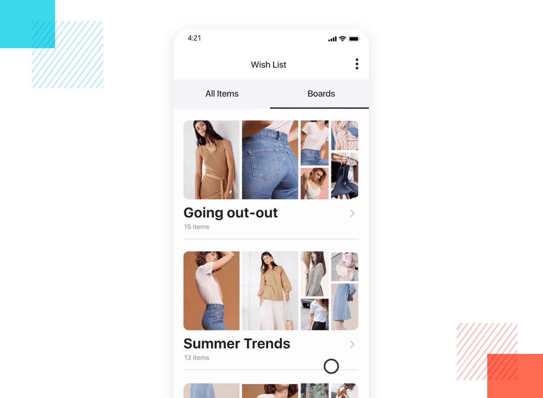 List UI design - Clothes wish list