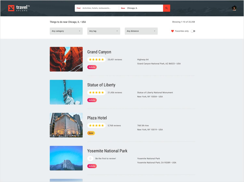 List UI design - Travel Xplore