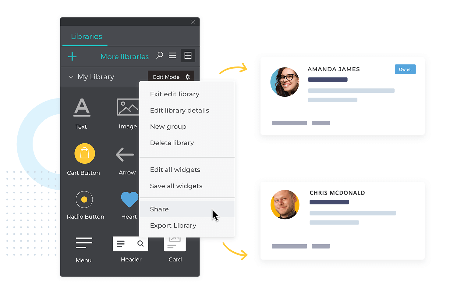 share and sync UI components