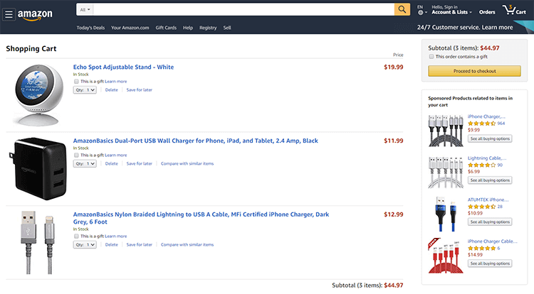shopping cart page by amazon