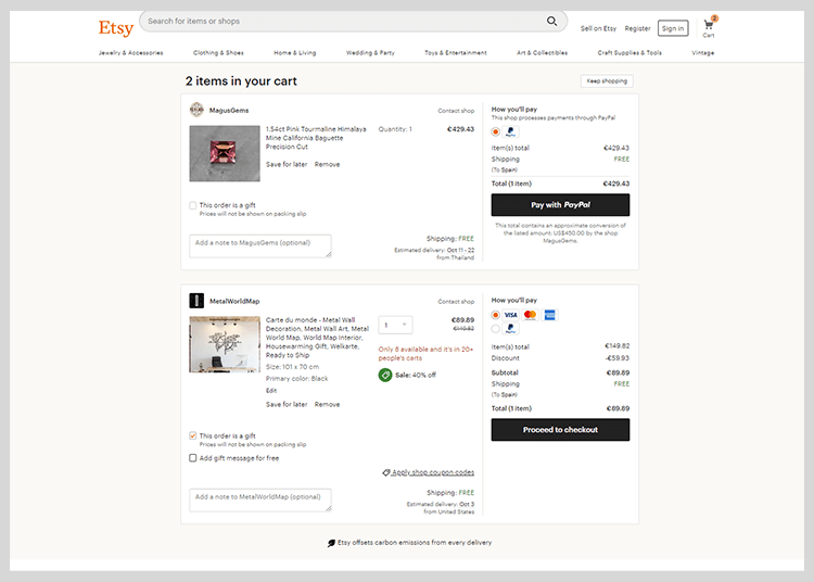 etsy example of shopping cart with multiple CTAs