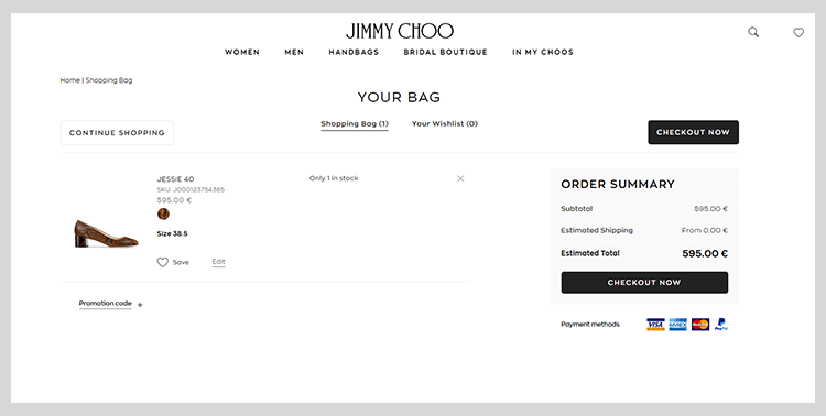 clean shopping cart design by jimmy choo