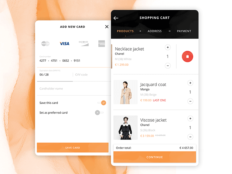 mobile shopping cart design and payment screen