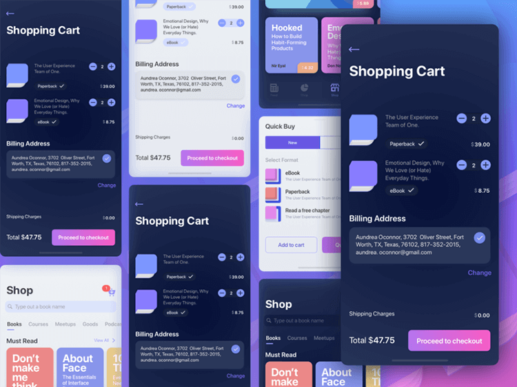 great example of mobile shopping cart design