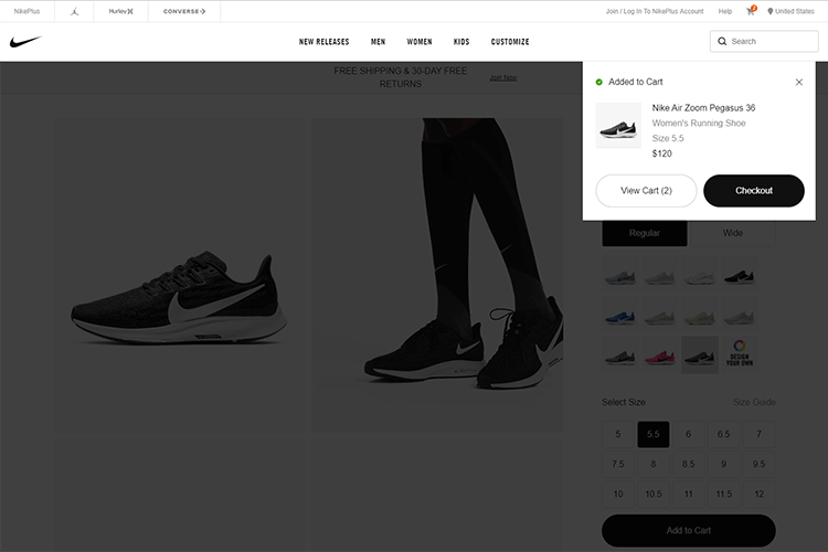 example of overlay modal in shopping cart design